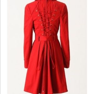 Elevenses Anthropologie red poppy corset coat tie